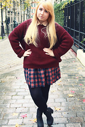 Katia - Lazy Kat - American Apparel Tan Chiffon Oversized Button Up, New Look Burgundy Sweater, American Apparel Plaid Full Woven Skirt, Monki Black Boots - Ron Burgundy