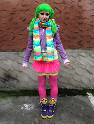 Jasmine J Green - Cyberdog Space Hive Tracker, Cyberdog Exo Scarf, Cyberdog Modified Safety Skirt, H&M Lime Skirt, Primarni Kid's Pink Tights, Adidas Jeremy Scott - My Outfit Doesn't Clearly Reflect how Freakin' Cold it was!