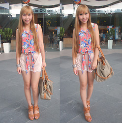 Esther Xie - Floral Blouse, Cream Shorts, Bugis Street Brown Wedge, Metal Bangle - Bloom Like A Flower That You Never Seen