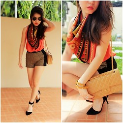 Veranica Mulyanto - Chanel Bag, Zara Shoes, Forever 21 Short, Tory Burch Bracelet - Orange punch