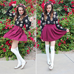 Allie Finch - Flower Crown, Love Culture Skull Sweater, Forever 21 Maroon Skirt, Forever 21 Knee High Socks - Skull Dance