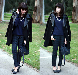 Fashion Pea - Zara Coat, Warehouse Check Pants, Céline Celine Bag - Check pants and biker coat