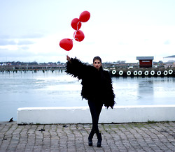 Caroline Roxy - Ny Feather Jacket, Jeffrey Campbell Boots, Acne Studios Pants - BLACK SWAN AND HER RED BALLOON