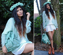 Kavita D - Crown & Glory Mint Floral Headband, Romwe Mint Stag / Deer Distressed Jumper, Chic Wish Mint Rucksack / Satchel, Ebay White Sheer Skirt, Jeffrey Campbell Litas - Mint Roses.