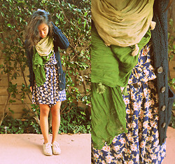 Angela Le - Mom's Closet Floral Dress, Abercrombie Cable Knit Cardigan, Claire's Gradient Scarf, Toms Burlap Cordones - Down to Earth.