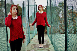 Kissmequick Girl - Oysho Red Sweater, Seaside Ballerinas, H&M Polkadot Blouse - A FINE DAY FOR POLKADOTS