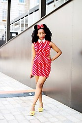 Jennifer Agwunobi - Armani Exchange Peplum Dress, Disneyland Paris Polka Dot Bow Headband, Neon Yellow Flatforms - Minnie Mouse In The House.