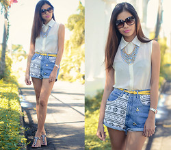 Happy Abbey - F2m Sheer Top, Aztec Stud Denim Shorts, Charles & Keith Flats - Denim Challenge 03