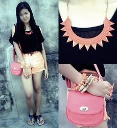 Alex Alfonso - Gold Spike Bracelets, Orange Ombre Shorts, Candy Sling Bag - Hello December!
