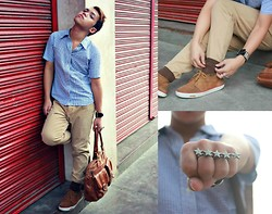 Jaen Earthling - Tomliz 5star Ring, Depatment Store Socks, Thrifted Checkered Button Down - Summer Stars
