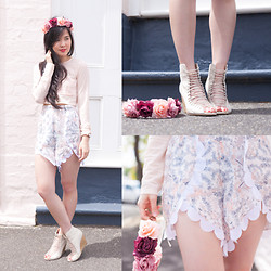 Nicole T - Asos Crop Top, Alice Mccall Scalloped Shorts, Asos Peep Toe Lace Up Wedges, K Is For Kani Florals - [blankbird] flutter me by