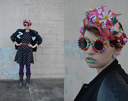 Zoe S. - Handmade By Me Sparkly Dinosaur Headband, Savant Vintage Couture Sunglasses, None Polka Dotted Dress - Flower Power