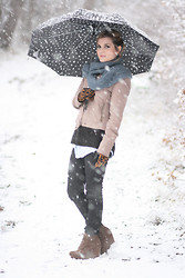 Aurélie Aline S - Mango Umbrella W/ Little Hearts, Topshop Beige Weadges, Leo And Leatherette Gloves - First snowfall !!