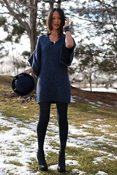 Gail C - Kg Boots, Topshop Sewater Dress, Limited Collection Hat, Topshop Leggings - First Snow... Hurry Up Holidays!