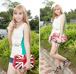 Esther Xie - Scallop Top, Flag Sling Bag, Light Blue Belt - I Watched It Begin Again