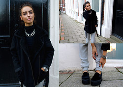 India Rose - Topshop Shearling Jacket, Nelly Chain Necklace, Asos Customised Velvet Loafers, Alexander Wang Knitted Joggers - IT'S ONLY