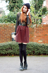 Olivia Emily - Forvert Beanie, Dress, Spike Bracelets, Dr. Martens Boots - Ex's and Oh's.