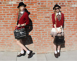 Audrey Riley - Forever 21 Red Cardigan, H&M Black Hat, Vintage Vest, Thrifted Bag - Suitcase full of twine