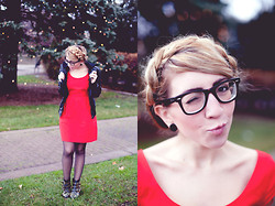 Laura Jude Hathaway - Urban Outfitters Pu Bomber Jacket, American Eagle Outfitters Red Dress, Ebay Studded Boots, Ray Ban Wayfarers - Hello December