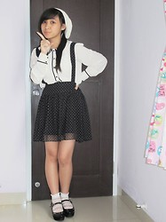 Evelyn Tirza - Forever 21 Collar Shirt, Unbranded Lace Socks, Gosh Black Wedges, Button Skirt Black, Lolypop Shop White Beanie Hat - Dolly
