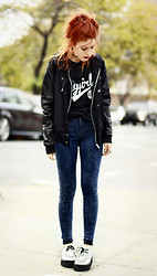 Lua P - Educate Elevate T Shirt, Sheinside Jacket, New Look Jeans - FLYGIRL