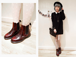 Jeanette T - Vintage Cross Necklace, Polka Dot Stockings, Dr. Martens Chelsea Boots - 20121204