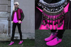 Andre Judd - Mia Casa Chainmail And Bead Necklace (Layered), H&M Organza Sheer Bomber Jacker, Neon Polka Dot Socks, Neon Pink Suede Driving Loafer, Fuchsia Pink Ribbed Cape Tee - PINK PUSH