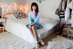 Joellen Lu - Zara Ombre Pullover Sweater, American Apparel Denim Circle Skirt, Hardcouture Handsewn Floral Pillow Case - Inside my room with Teen Vogue