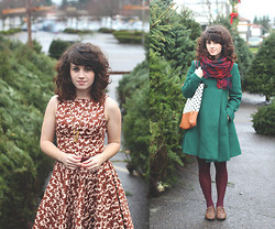 Delightfully Tacky . - Modcloth Dress, Modcloth Shoes, Target Tights, Thrifted Coat, H&M Scarf, Rouge & Whimsy Bag, Handmade Necklace - Tree shopping