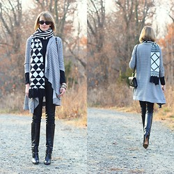 E Maille - Echo Scarf, Joie Sweater, Zara Turtleneck, Sophie Hulme Bag, Zara Leather Pants, Karen Millen Boots - Monochrome