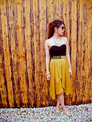 B @Style Voyage - Cutler And Gross Sunglasses, Siam Square, Thailand Studded Earrings, Siam Square, Thailand Necklace, H&M Gold Belt, H&M Top Dress, Topshop Velvet Yellow Skirt, H&M Bracelets, Apple Choice Gold Glitter Shoes - Modern Gold