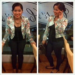 Trixie Manlangit - Apartment 8 Floral Jacket, Chick Flick Spikes Necklace, Lace Top, Bazaar Jeggings, Sm Parisian Comfit Shoes - Share your Happiness