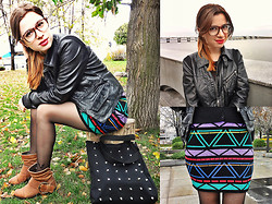 Nika Y - Chicnova Spiked Bag, Miss Selfridge Aztec Printed Skirt, Topshop Leather Jacket, Glasses - GRAPHIC AZTEC SKIRT