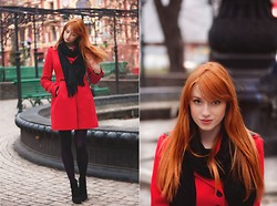 Alina K. - Zara Coat, Zara Boots - Black&Red.