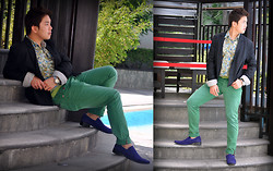 Vergil Lloyd Chua - Insight Black Suit, Energie Floral Buttondown, Sm Accessories Green Belt, Rolex Time Keeper, Energie Green Full Length Pants, Sm Mens Purple Suede Shoes - The Bachelor