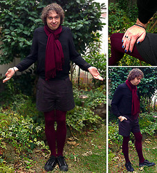 Eddie Cossaboom - Asos Jaquard Pin Spot Shorts, Forever 21 Burgundy Scarf, H&M Burgundy, Cable Knit Tights, Forever 21 Chainmail Bracelet, G.U. Black, Canvas Sneakers, H&M Black, Chiffon Shirt, Nicole By Opi It's Up To You - Why Not‽