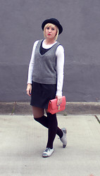 Hales Titus - Zara Brogues, Modcloth Clutch, Gap Dress, Urban Outfitters Bowler Hat - Keep