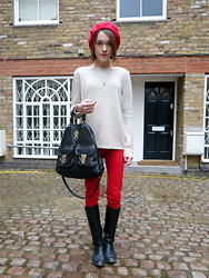 Ella Catliff - American Apparel Red Beret, Goat Cream Knit, Zara Red Jeans, Massimo Dutti Riding Boots, Mulberry Tote, Anne Bowes Jewellery Bambi Necklace - Low Key Luxe