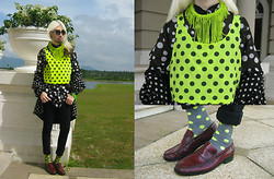 Andre Judd - Polka Dotted Neon Tank, Polka Dotted Shirt, Polka Dotted Silk Hoodie, Neon Green Beaded Neckpiece, Polka Dotted Socks, Vintage Deadstock Penny Loafer, Neon Green Spike Cuff, Round Frames - SPOT THE NEON