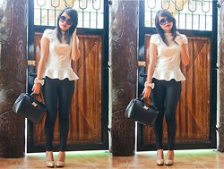 Katrina C. - Apartment 8 Peplum Top, Forever 21 Skinnies - Linger