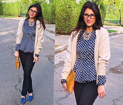 Adrienne KL - Prada Glasses, Purchased In Hong Kong Peplum Top, Grandma's Cashmere Cardigan, Jigsaw London Black Skinny Jeans - DOTTY PEPLUM