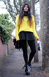 Kavita D - You Wear Fashion Detachable Crucifix Collar, Romwe Yellow Knit Jumper, Romwe Black Skater Skirt, Alexander Wang Kirsten Tote, Jeffrey Campbell Spike Litas - Die Young.