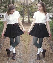 Rachel F. - Vintage Lace Top, Forever 21 Skirt, Vintage Booties - Hello December.