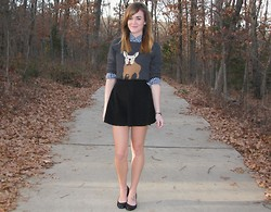 Niki Adams - J. Crew Sweater, American Apparel Skirt, Gilly Hicks Shirt, Wal Mart Flats - Frenchie.