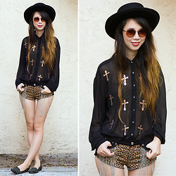 Cindy Chi - Nasty Gal Holy Sequined Blouse, Nasty Gal Madrid Wool Hat, Asos Studded Flats - Holy Fringe!