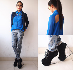 Rebecca Wang - Vintage Cardigan, Nasty Gal Shirt, Forever 21 Shades, Jeffrey Campbell Clear Wedges - Blue cut out shirt