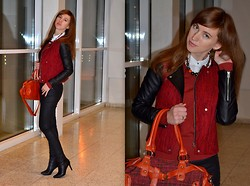 Olga Dupakova - Lindex Pants, Pull & Bear Jacket - Tweed jacket with leather sleeves