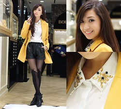 Kryz Uy - Indressme Coat, Wagw Top, Clothes For The Goddess Shorts, Romwe Leggings, Choies Booties - A day with Boucheron, Paris