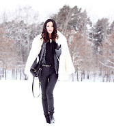 Miu N - Second Hand Fur, Rodebjer Shirt, Vero Moda Pants, Gina Tricot Belt, Miu Bag, Vagabond Boots - White As Snow