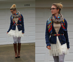 Lotte P - Thrifted Belt, American Eagle Cardigan, American Eagle Skirt, Scarf - Trouble